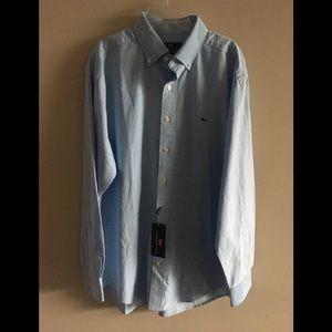 Vineyard Vines baby blue button down shirt